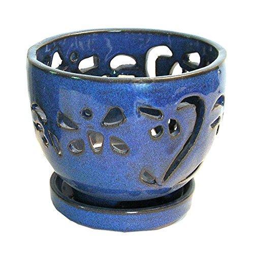 blue ceramic orchid pots