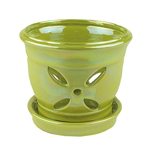 green ceramic orchid pot