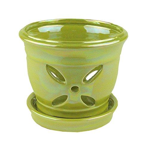 green ceramic orchid pot