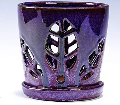purple ceramic orchid pot