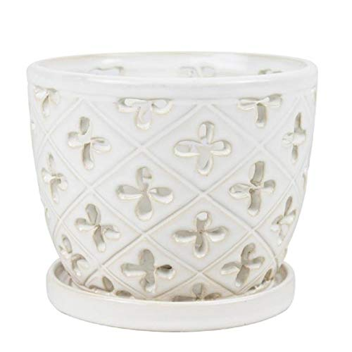 white ceramic orchid pot